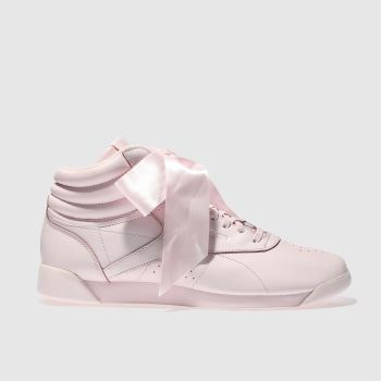 Reebok Pale Pink Freestyle Hi Satin Bow Womens Trainers