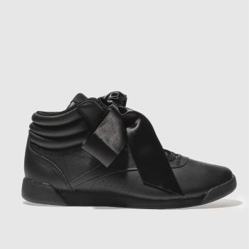 Reebok Black Freestyle Hi Satin Bow Womens Trainers