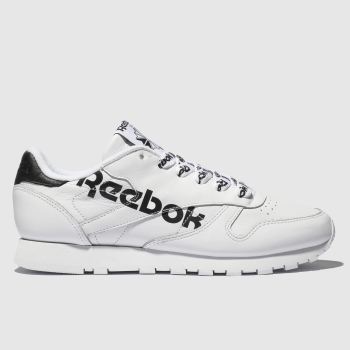 5ce7b8cefabf3 Reebok White   Black Classic Leather Womens Trainers