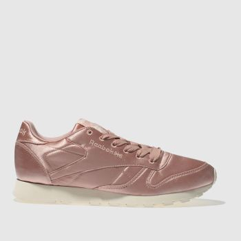 Reebok Pink Classic Leather Satin Womens Trainers