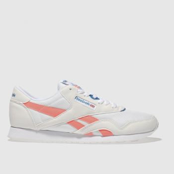 REEBOK WHITE & PEACH CLASSIC NYLON TRAINERS