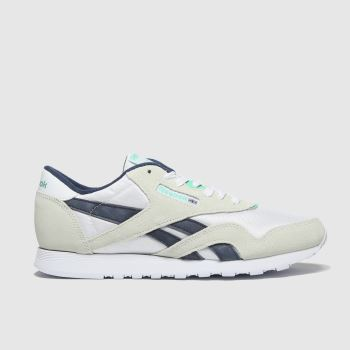 Reebok White & Navy Classic Nylon Womens Trainers