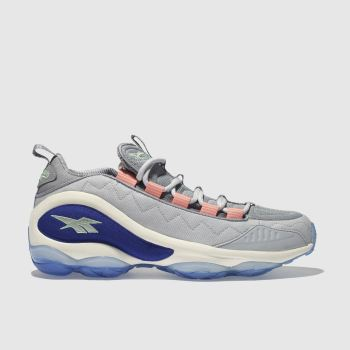 reebok grey & blue dmx run 10 trainers