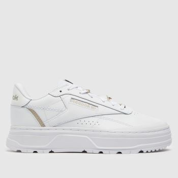 Reebok White Classic Leather Double Womens Trainers c7bd00e2e