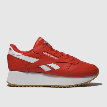 Reebok Red Classic Leather Double Womens Trainers