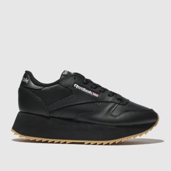 Reebok Black Classic Leather Double Womens Trainers 24c5f0dea6