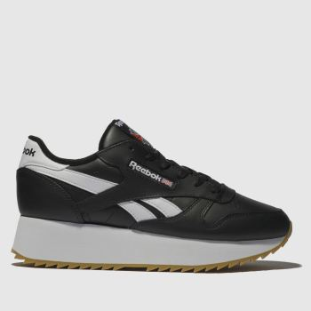 047744dbaf3 Reebok Black   White Classic Leather Double Womens Trainers