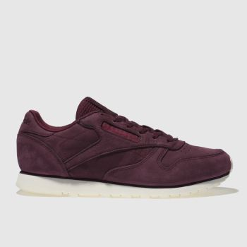 Reebok Burgundy Classic Leather Nubuck Womens Trainers