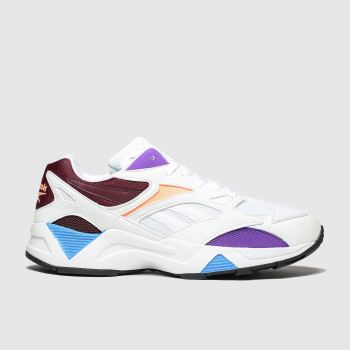 Reebok White & Burgundy Aztrek 96 Womens Trainers