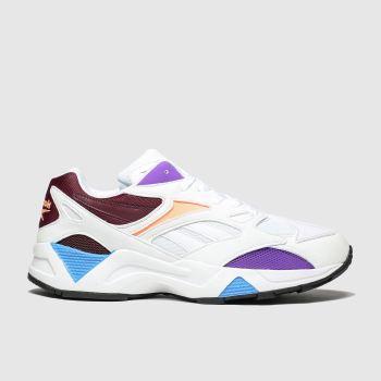 reebok white & burgundy aztrek 96 trainers