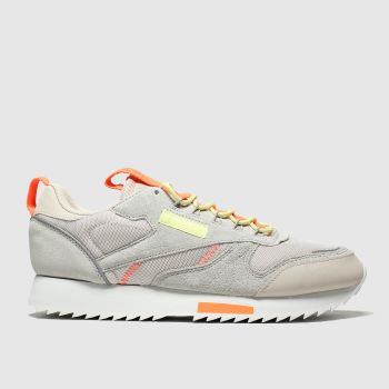 reebok beige & orange classic leather ripple trail trainers