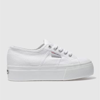 Superga White 2790 Flatform Trainers