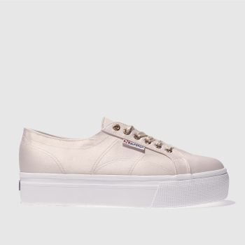 SUPERGA PALE PINK 2790 FLATFORM SATIN TRAINERS