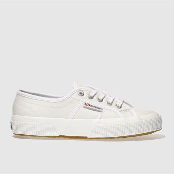 Superga White 2750 Leather Womens Trainers