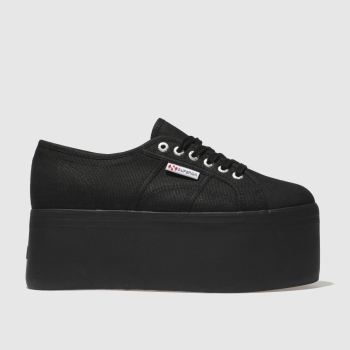Superga Black 2802 Super Platform Womens Trainers