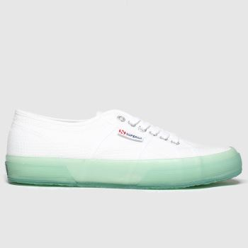 Superga White & Pl Blue 2750 Trans Sole Womens Trainers