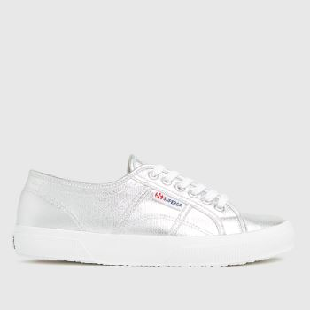 Superga Silver 2750 Metallic Canvas Womens Trainers