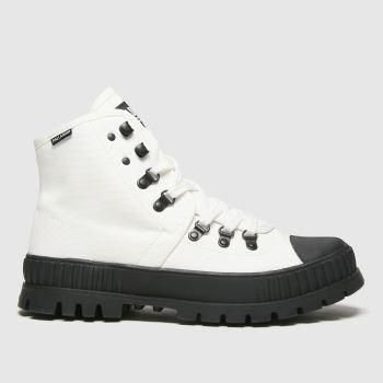 Palladium White & Black Pallashock Hiker Hi Womens Trainers