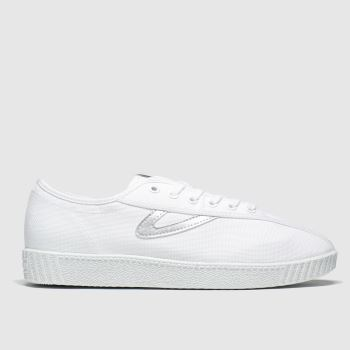 Tretorn White & Silver Nylite Canvas Womens Trainers