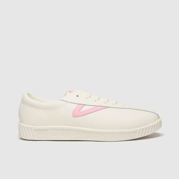 Tretorn White & Pink Nylite Leather Trainers