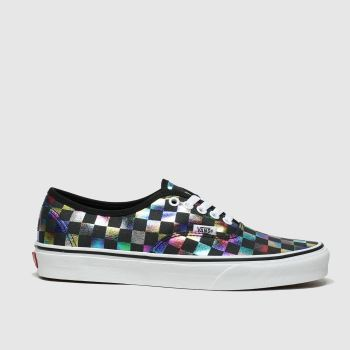 vans black & silver authentic iridescent check trainers