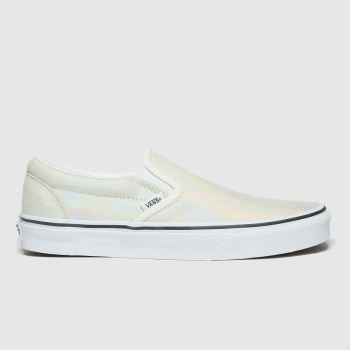 Vans White & Silver Classic Slip-on Prism Womens Trainers#