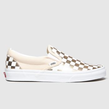 Vans White & Rose Gold Classic Slip-on c2namevalue::Womens Trainers#promobundlepennant::£5 OFF BAGS