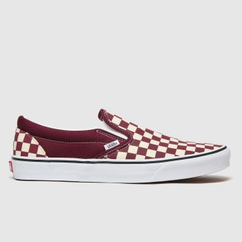 Vans White & Burgundy Classic Slip-on Womens Trainers