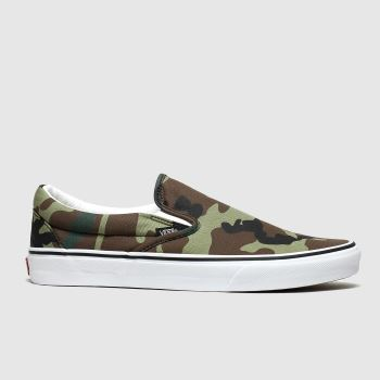 vans khaki classic slip-on camo trainers