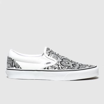 Vans White & Black Classic Slip-on Python Trainers