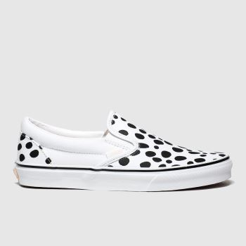 Vans White & Black Classic Slip On Spot Womens Trainers