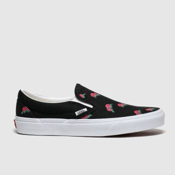 Vans Black & pink Classic Slip-on Rose Print c2namevalue::Womens Trainers