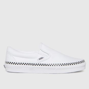 Vans White & Black Classic Slip Check Foxing Womens Trainers