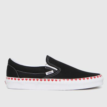 Vans Black & Red Classic Slip Hearts Foxing Womens Trainers