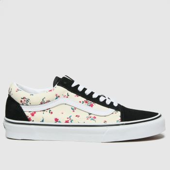 Vans Black & White Old Skool Ditsy Floral Womens Trainers#