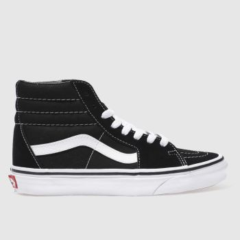 6601daf9ff Vans Black   White Sk8-Hi Suede Womens Trainers