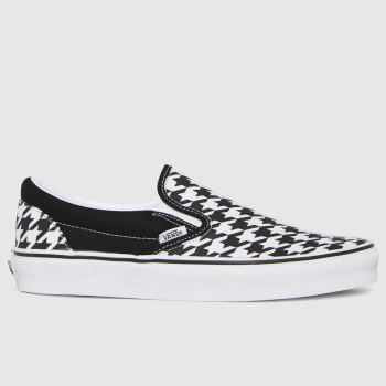Vans Black & White Classic Slip Houndstooth Womens Trainers