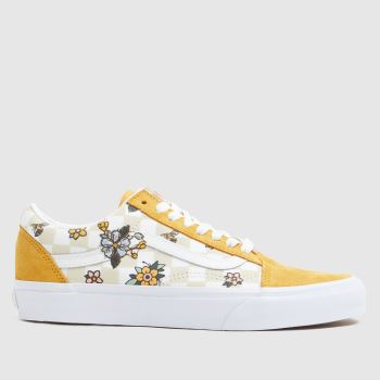Vans Yellow Cottage Check Old Skool Womens Trainers