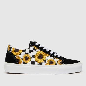Vans Black & White Check Sunflower Old Skool Womens Trainers