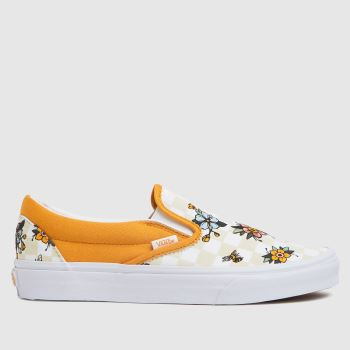 Vans Yellow Cottage Check Slip Womens Trainers