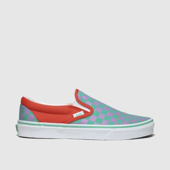 Vans Orange Classic Slip-on Crazy Check Damen Sneaker