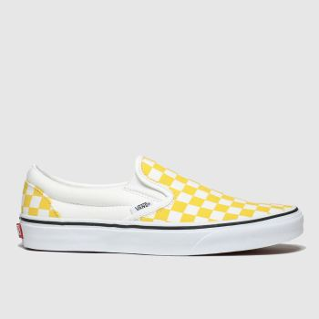 Vans White & Yellow Classic Slip Checkerboard Trainers
