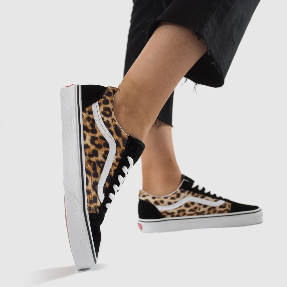 Vans black & brown leopard old skool trainers