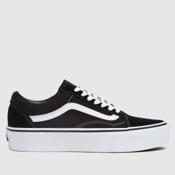 Vans Black & White Old Skool Platform Womens Trainers#