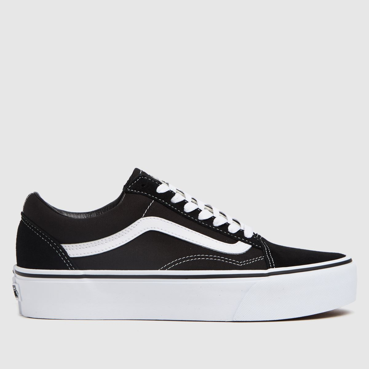 Womens Black Amp White Vans Old Skool Platform Trainers Schuh