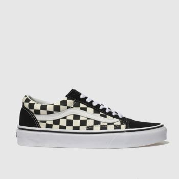 Vans Black & White Old Skool Primary Check Womens Trainers#