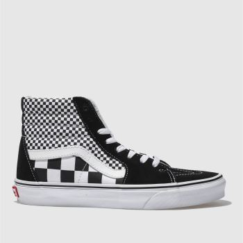 VANS BLACK & WHITE SK8-HI MIX CHECKER TRAINERS