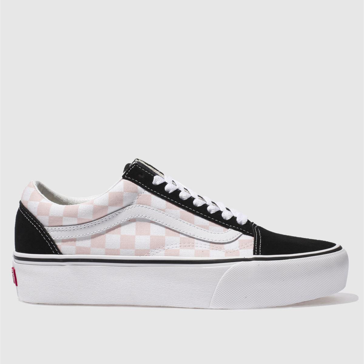 Womens White Amp Pink Vans Old Skool Platform Check Trainers