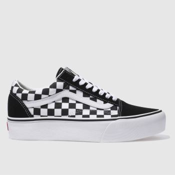 Vans Black & White Old Skool Platform Check Womens Trainers#