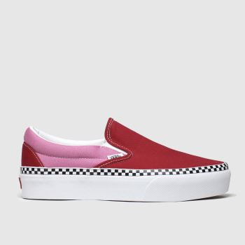 Vans White & Red Classic Slip-on Platform c2namevalue::Womens Trainers